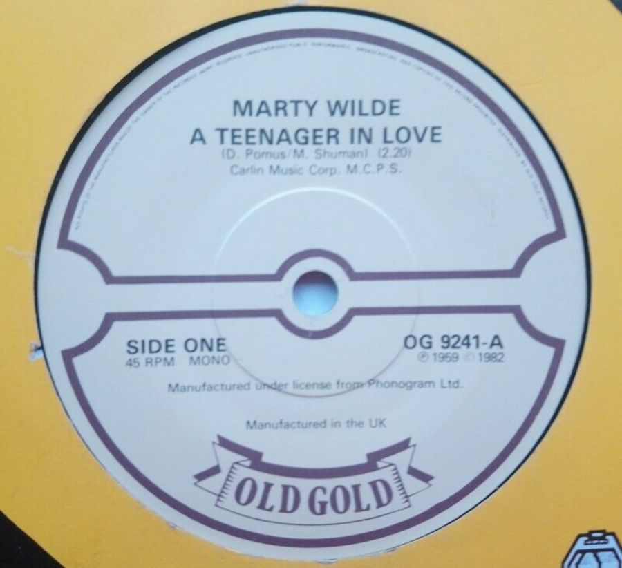 Marty Wilde - A Teenager In Love - Vinyl Record 7