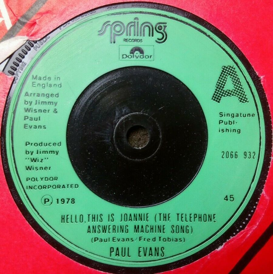 Paul Evans - Hello This Is Joannie - Vinyl Record 7