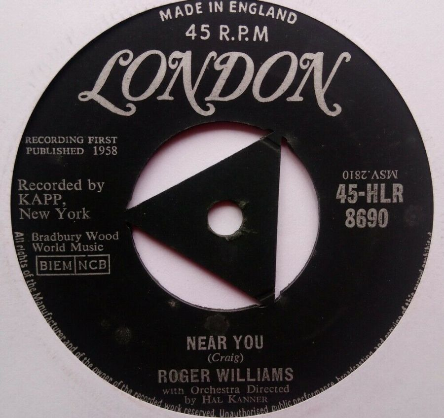Roger Williams - Near You - Vinyl Record 7