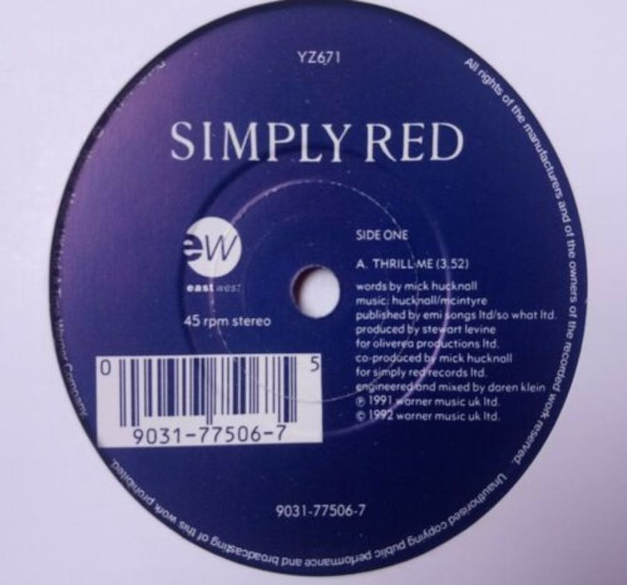 Simply Red - Thrill Me - Vinyl Record 7