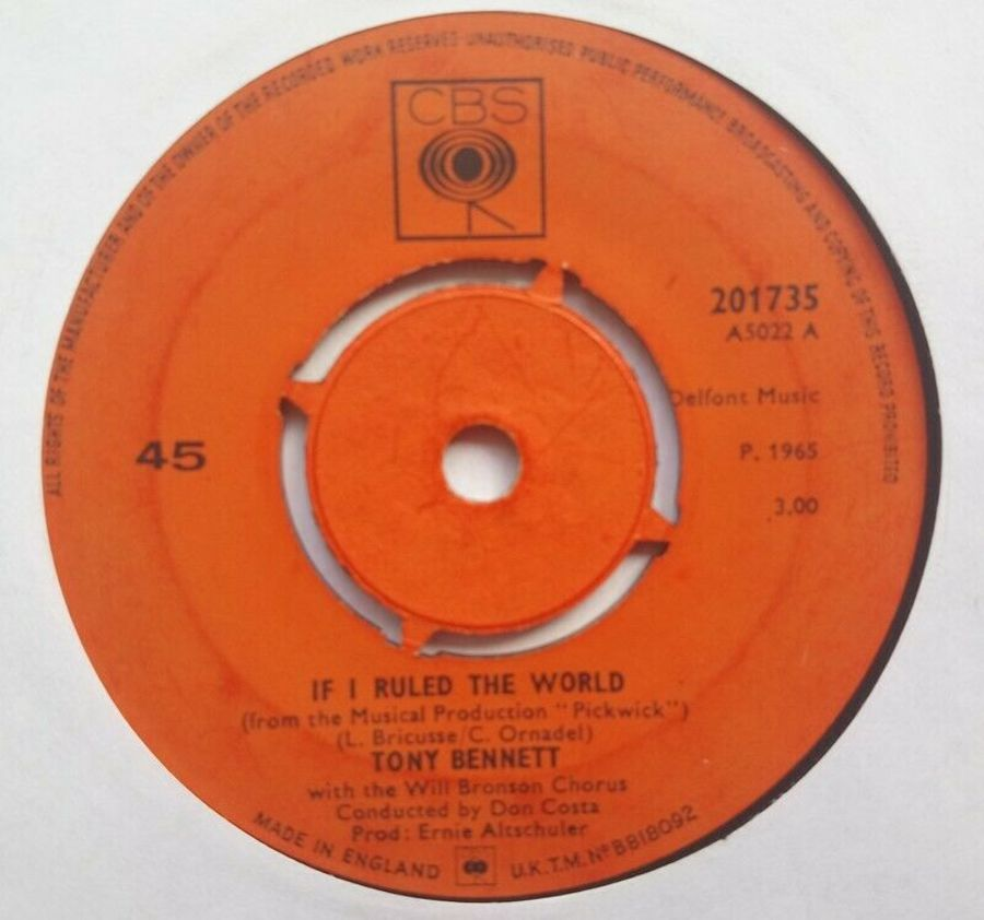 Tony Bennett - If I Ruled The World - Vinyl Record 7