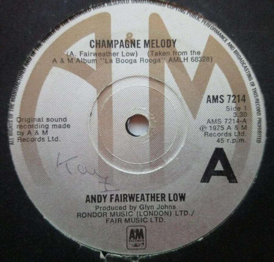 Andy Fairweather Low - Champagne Melody - Vinyl Record 7