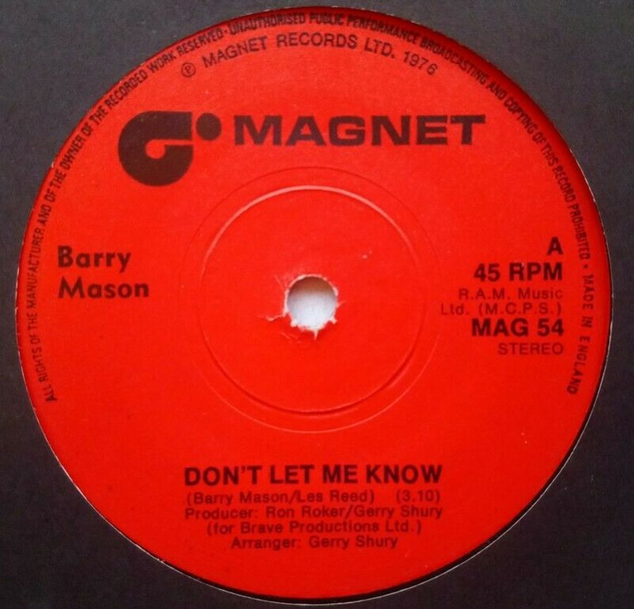 Barry Mason - Don't Let Me Know - Vinyl Record 7
