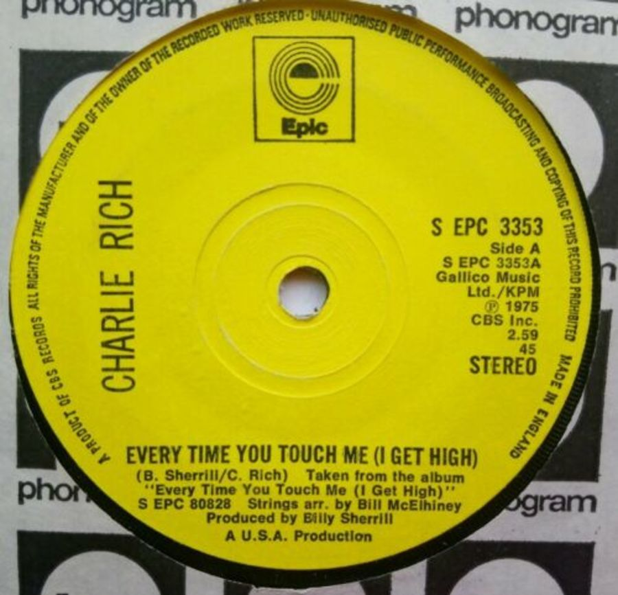 Charlie Rich - Everytime You Touch Me ( I Get High ) - Vinyl Record 7