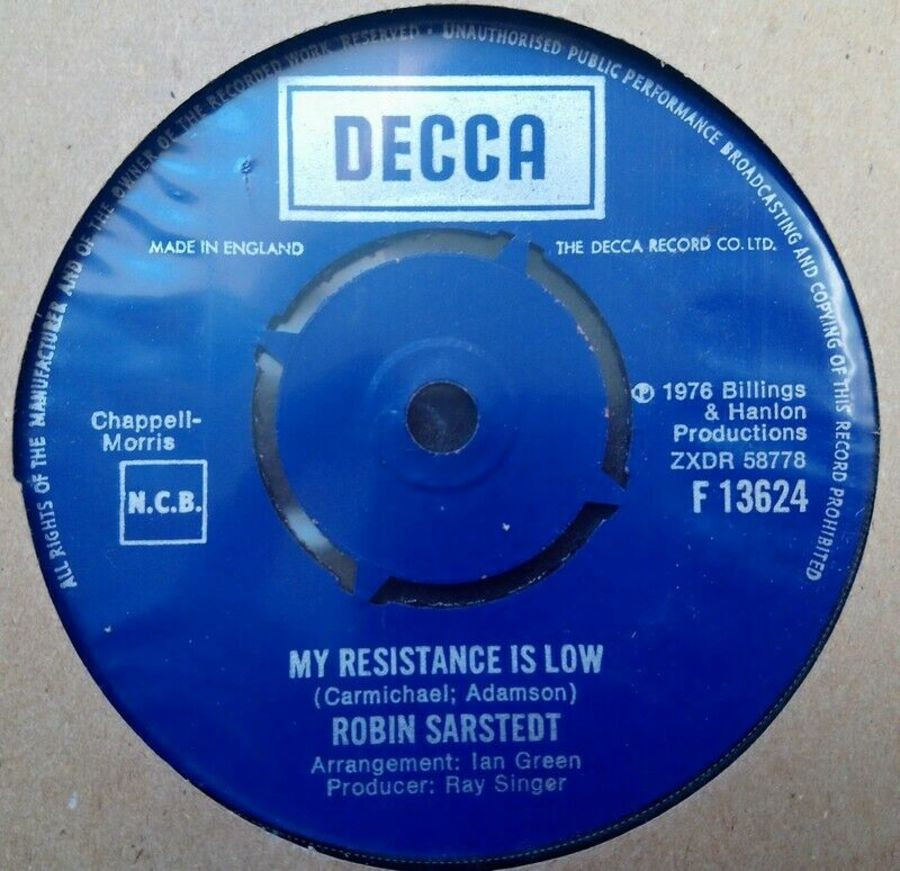 Robin Sarstedt - My Resistance Is Low - Vinyl Record 45 RPM