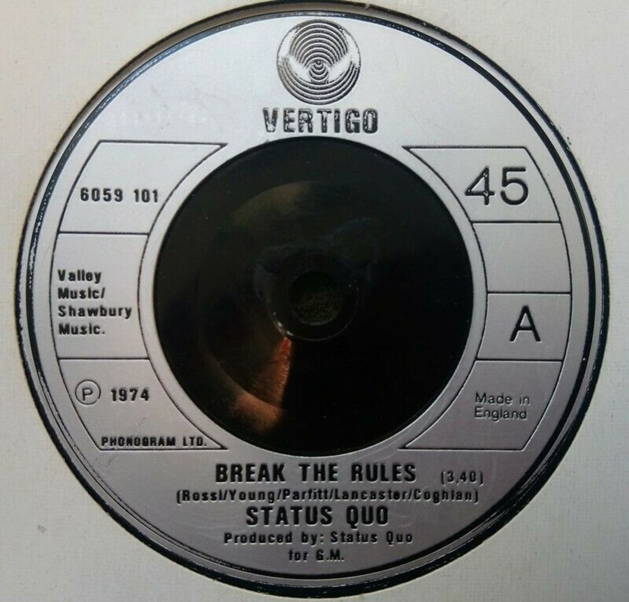 Status Quo - Break The Rules - Vinyl Record 45 RPM