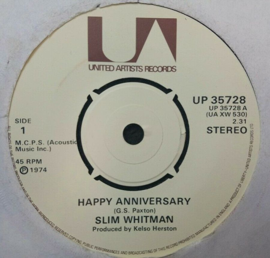 Slim Whitman - Happy Anniversary - Vinyl Record 45 RPM