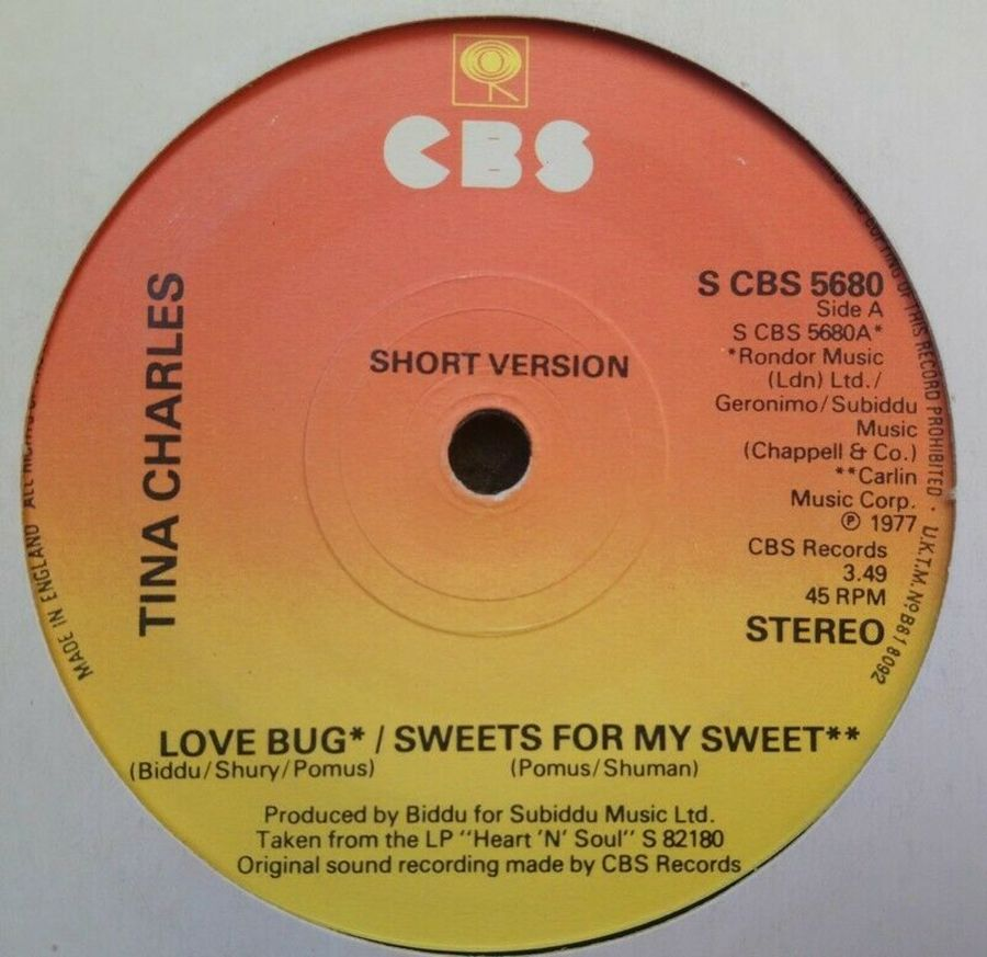 Tina Charles - Love Bug / Sweets For My Sweet - 7