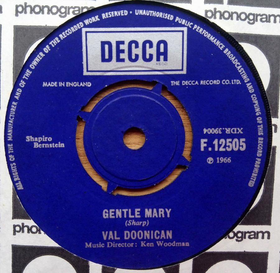 Val Doonican - Gentle Mary - Vinyl Record 7