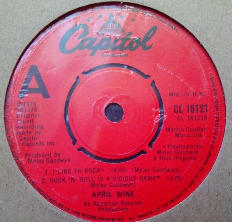 April Wine - Like To Rock / Rock & Roll Is A Vicious Game EP - Vinyl Record