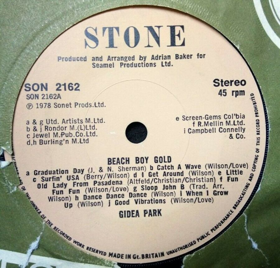 Gidea Park - Beach Boy Gold - Vinyl Record 7