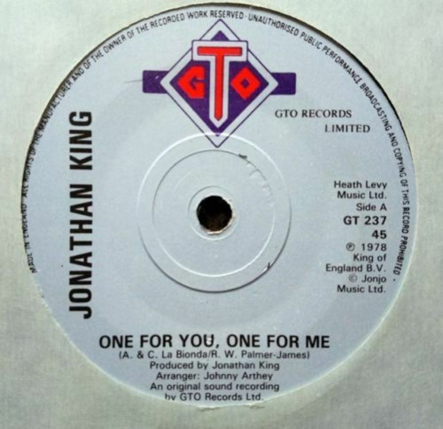 Jonathan King - One For You, One For Me - 7