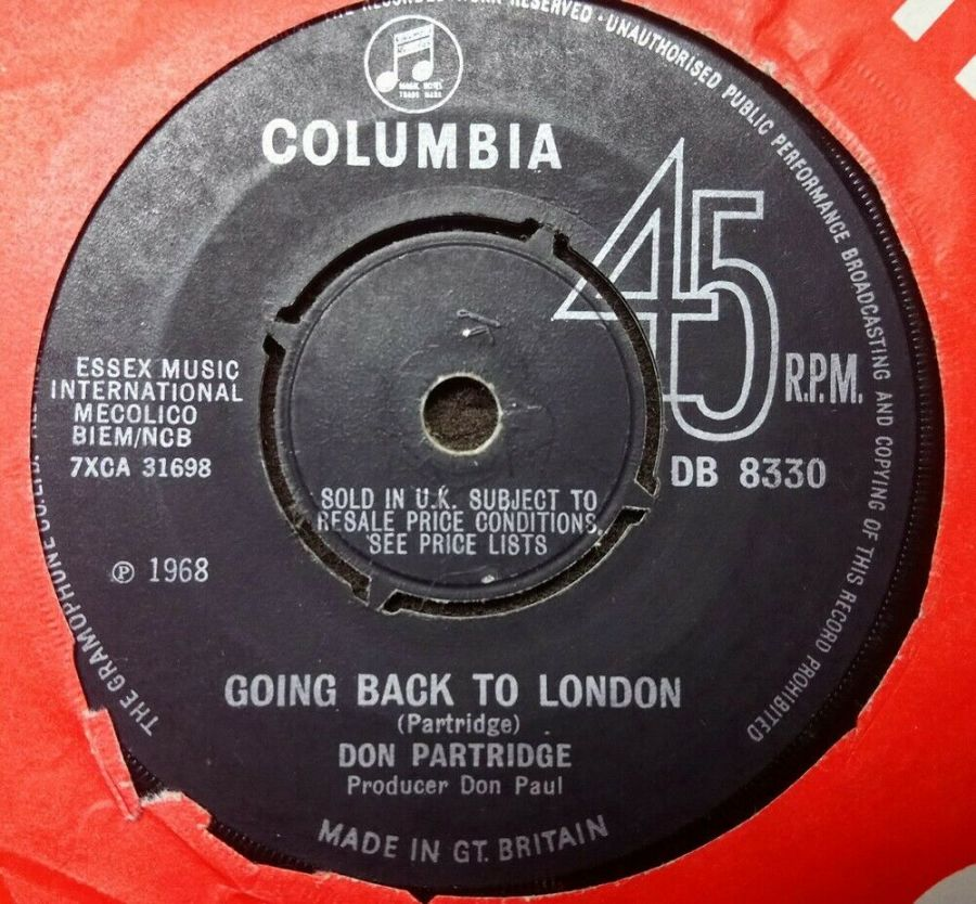 Don Partridge - Going Back To London - Vinyl Record 7