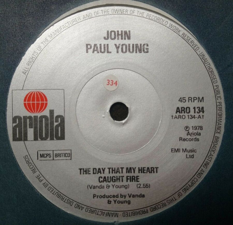 John Paul Young - The Day My Heart Caught Fire - Vinyl Record 7