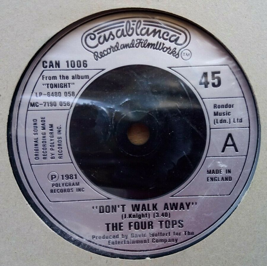 The Four Tops - Don't Walk Away - Vinyl Record 45 RPM