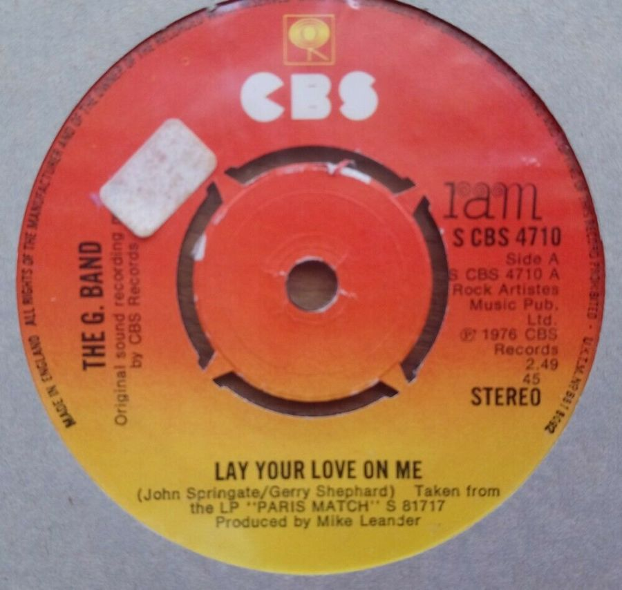 The G Band - Lay Your Love On me - Vinyl Record 45 RPM