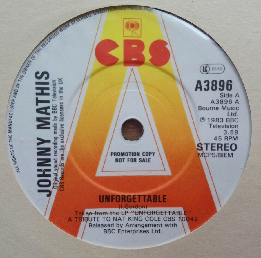 Johnny Mathis - Unforgettable ( PROMO ) - Vinyl Record 45 RPM