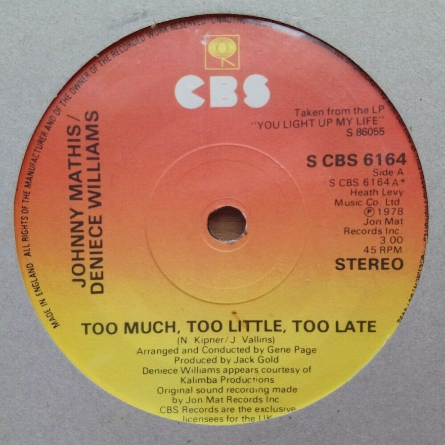 Johnny Mathis & Deniece Williams - Too Much - Too Little - Vinyl Record 45 RPM