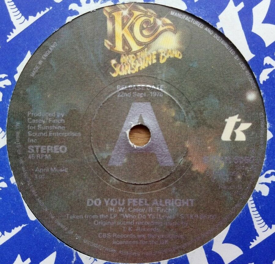 KC & The Sunshine Band - Do You Feel Alright - Vinyl Record 45 RPM