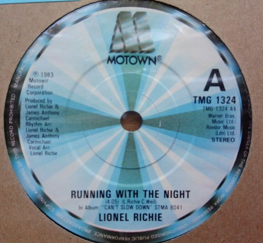 Lionel Richie - Running With The Night - Vinyl Record 45 RPM