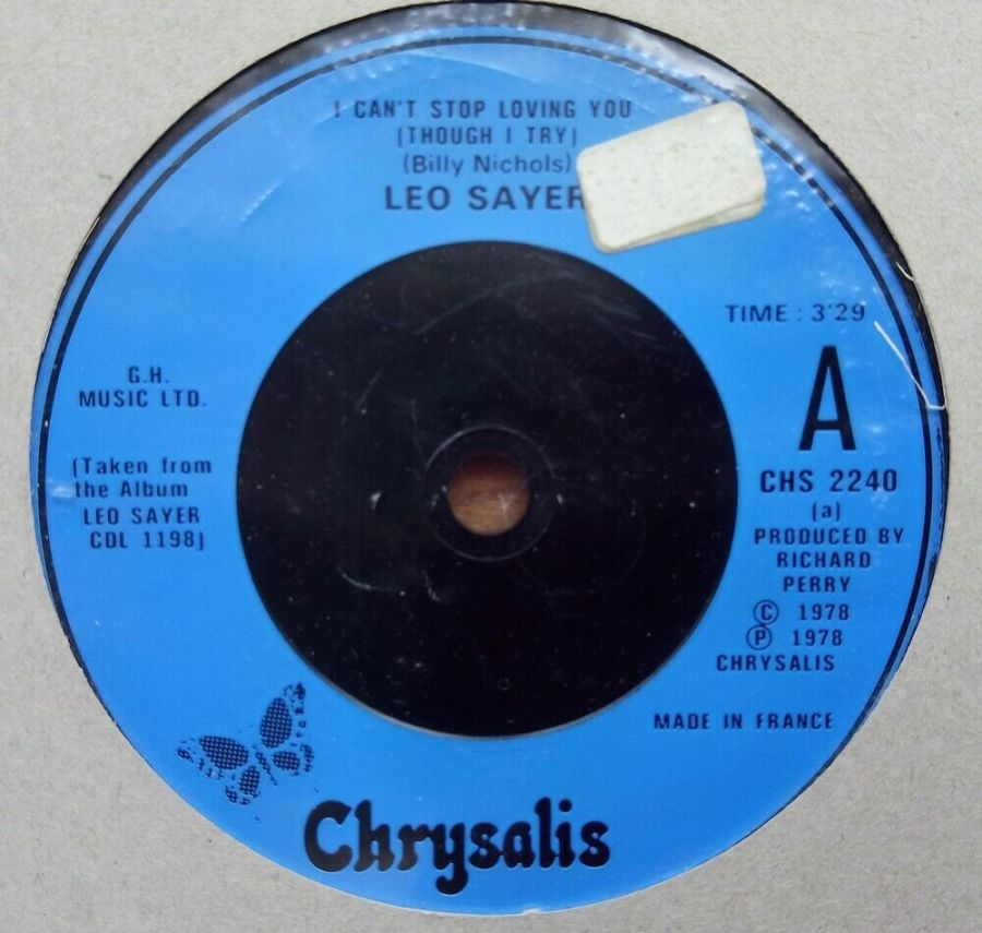 Leo Sayer - I Can't Stop Loving You ( Though I Try ) - Vinyl Record 45 RPM