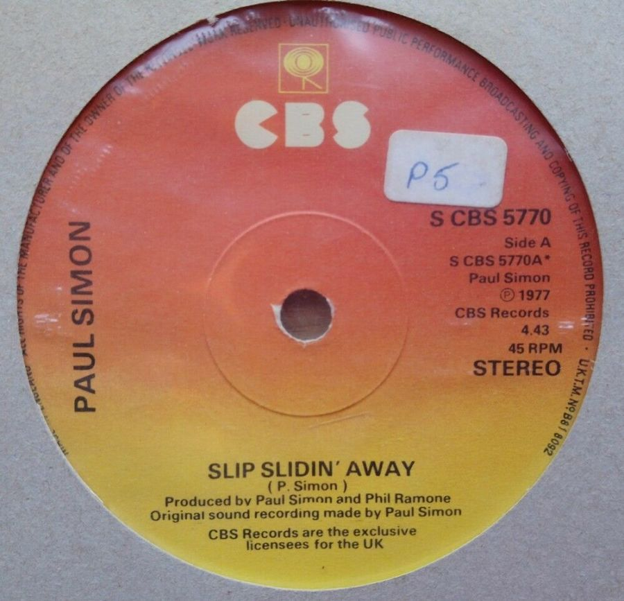 Paul Simon - Slip Slidin' Away - Vinyl Record 45 RPM
