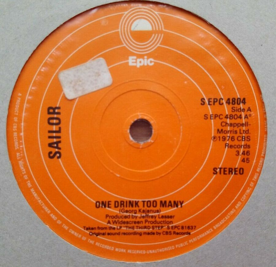 Sailor - One Drink Too Many - Vinyl Record 45 RPM