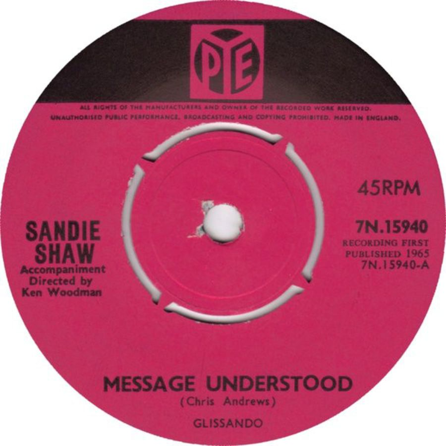 Sandie Shaw ‎– Message Understood - Vinyl Record 45 RPM ( MS )