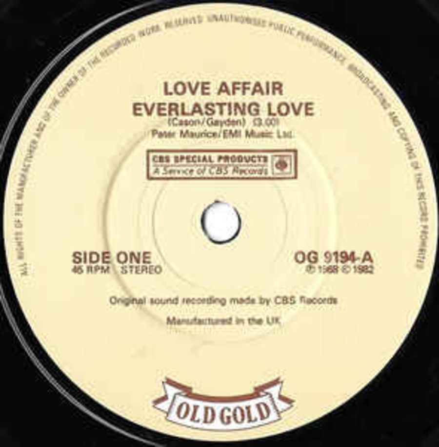 Love Affair* ‎– Everlasting Love / A Day Without Love - Vinyl Record 45 RPM ( MS )