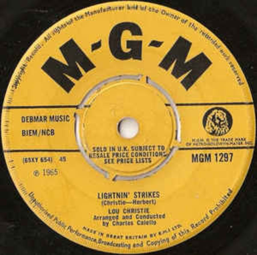 Lou Christie ‎– Lightnin' Strikes - Vinyl Record 45 RPM ( MS )