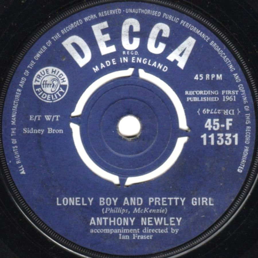 Anthony Newley ‎– Lonely Boy And Pretty Girl - Vinyl Record 45 RPM ( MS )