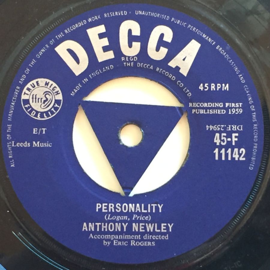 Anthony Newley – Personality / My Blue Angel - Vinyl Record 45 RPM ( MS )