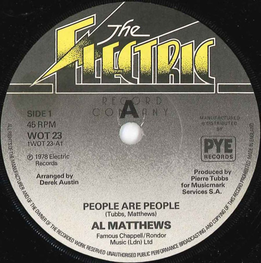 Al Matthews ‎– People Are People - ( PROMO ) Vinyl Record 45 RPM ( MS )