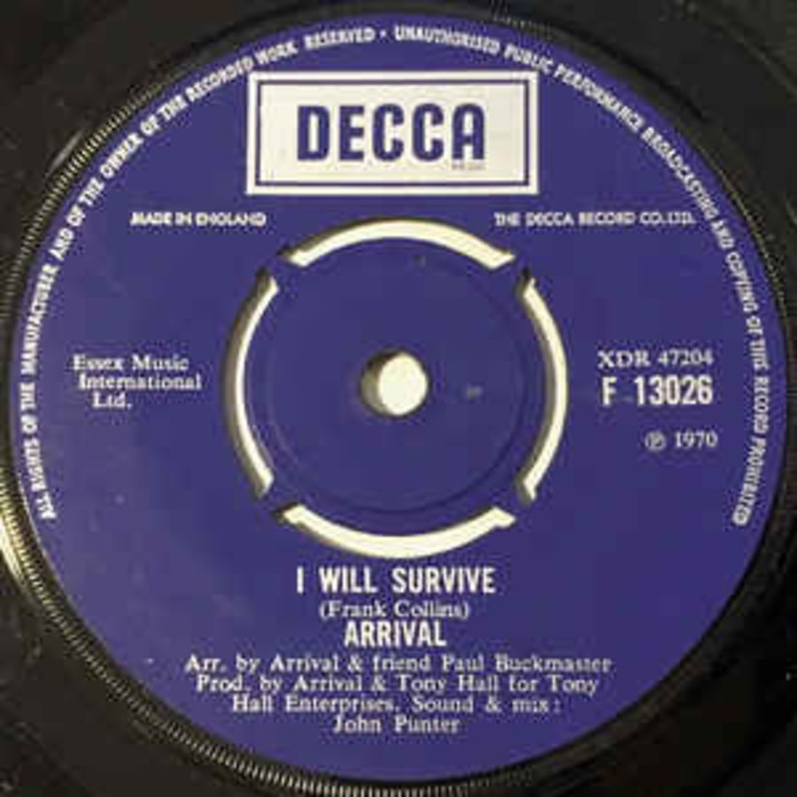 Arrival (2) ‎– I Will Survive - Vinyl Record 45 RPM ( MS )