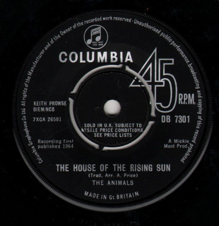 The Animals – The House Of The Rising Sun - Vinyl Record 45 RPM ( MS )