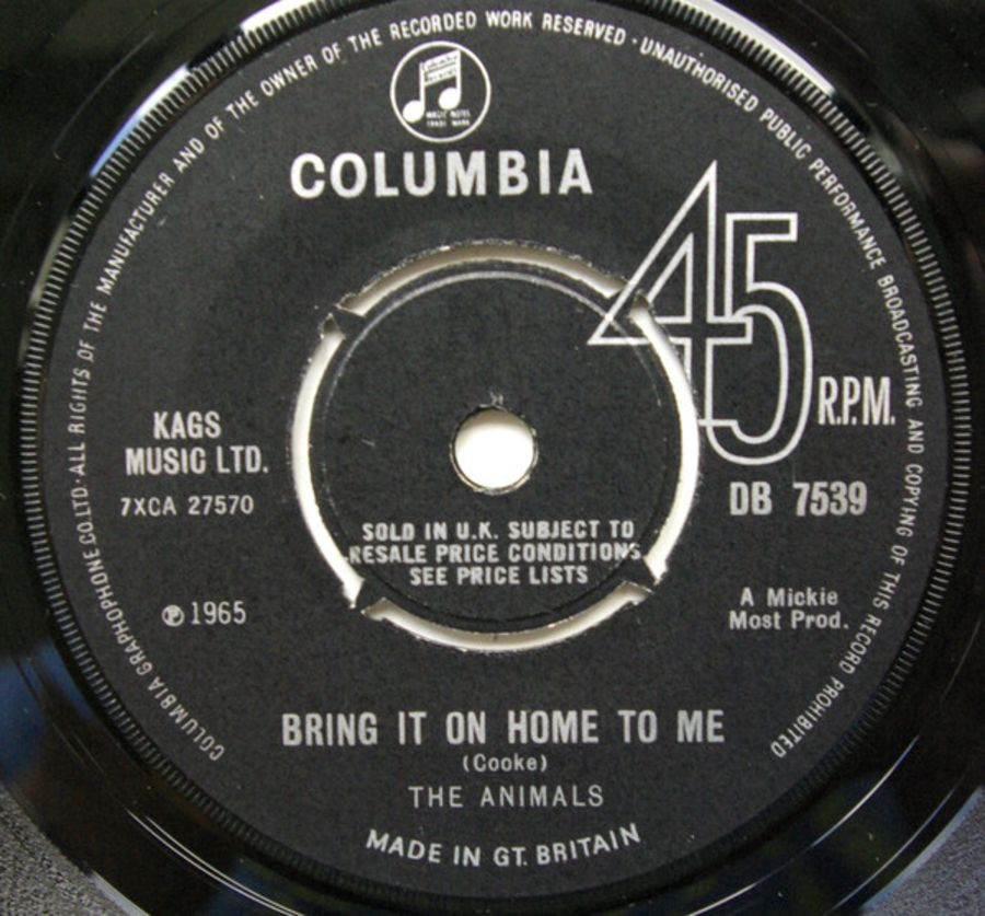 The Animals ‎– Bring It On Home To Me - Vinyl Record 45 RPM ( MS )