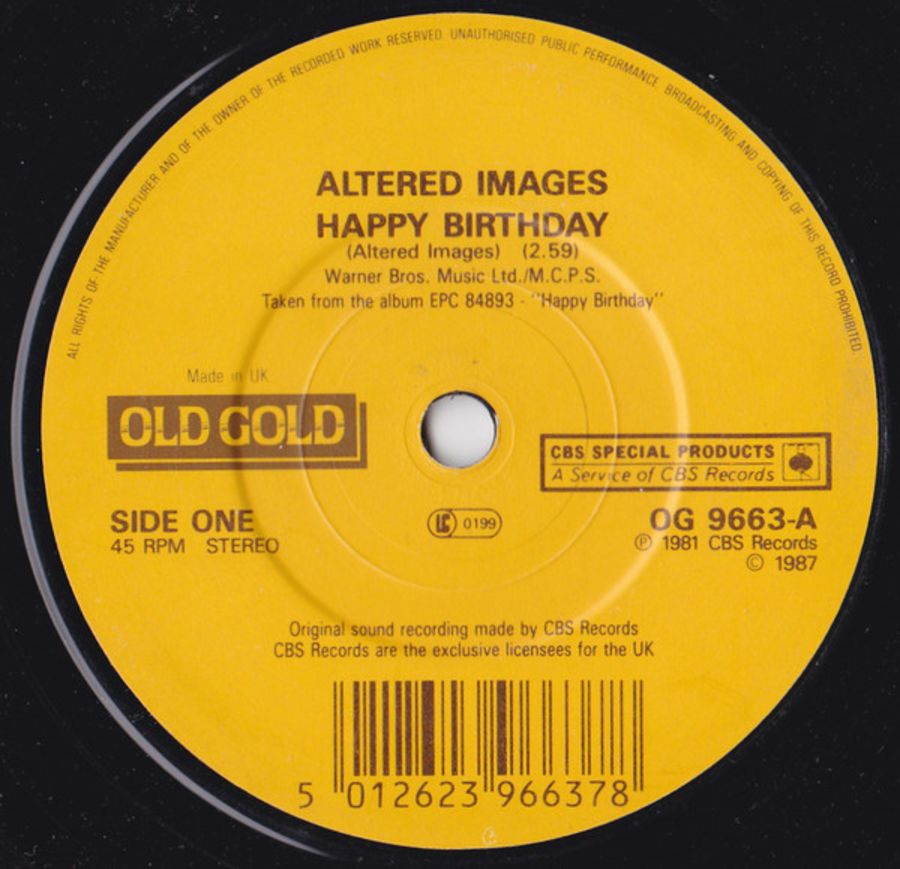 Altered Images ‎– Happy Birthday / I Could Be Happy - Vinyl Record 45 RPM ( MS )