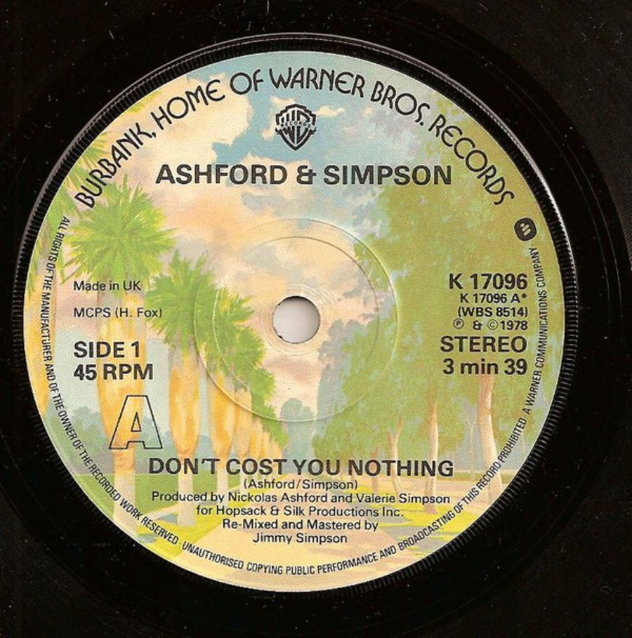 Ashford & Simpson – Don't Cost You Nothing - Vinyl Record 45 RPM ( MS )