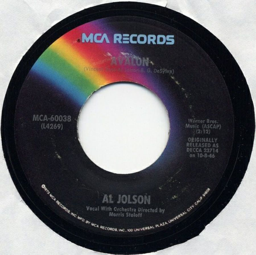 Al Jolson ‎– Avalon / Anniversary Song - Vinyl Record 45 RPM ( MS )