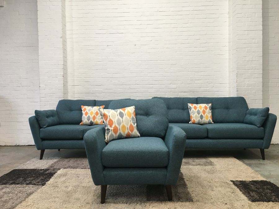 Ex Display/Showroom Seville Teal Fabric 3+2+1 Seater Sofas
