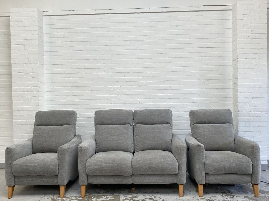 Compact Collection Petit Grey Fabric Electric  Recliner 2+1+1 Seater Sofas