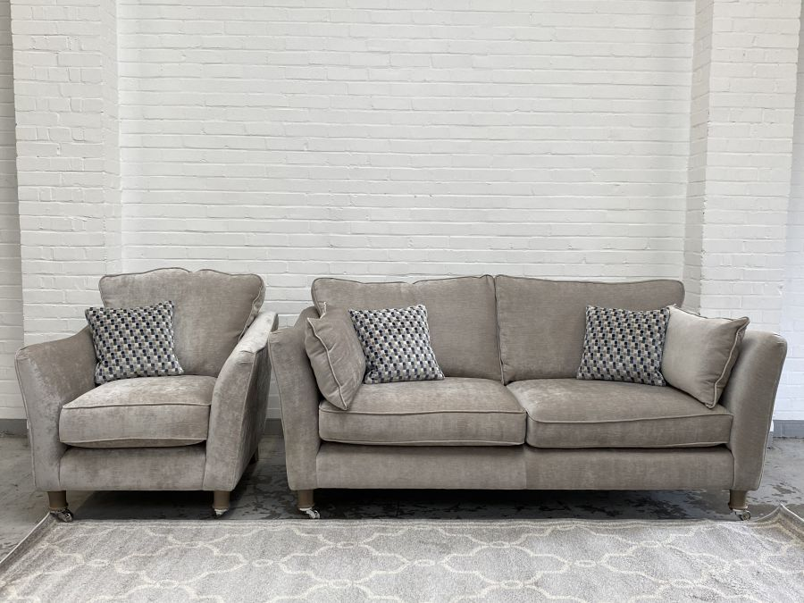 Stanton Mink  Fabric 3 Seater Sofa+Matching Armchair (ex dispaly)