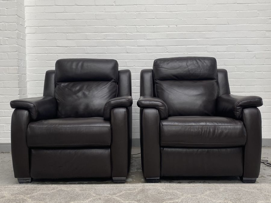 2 Brown Real Leather Power Recliner Armchairs