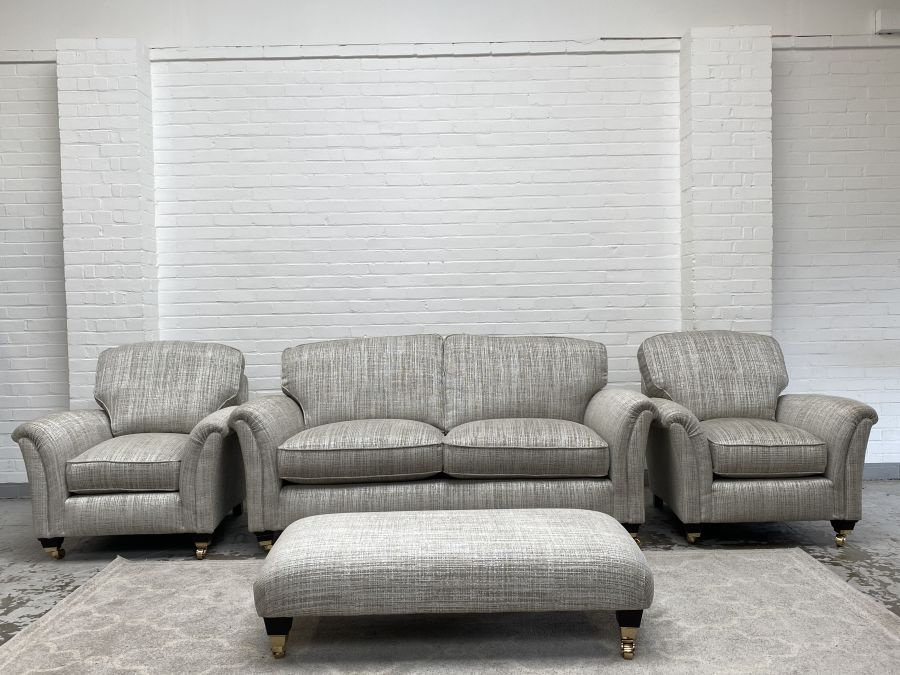 Devonshire Fabric Large 2 seater Sofa +2 Armchairs +Footstool