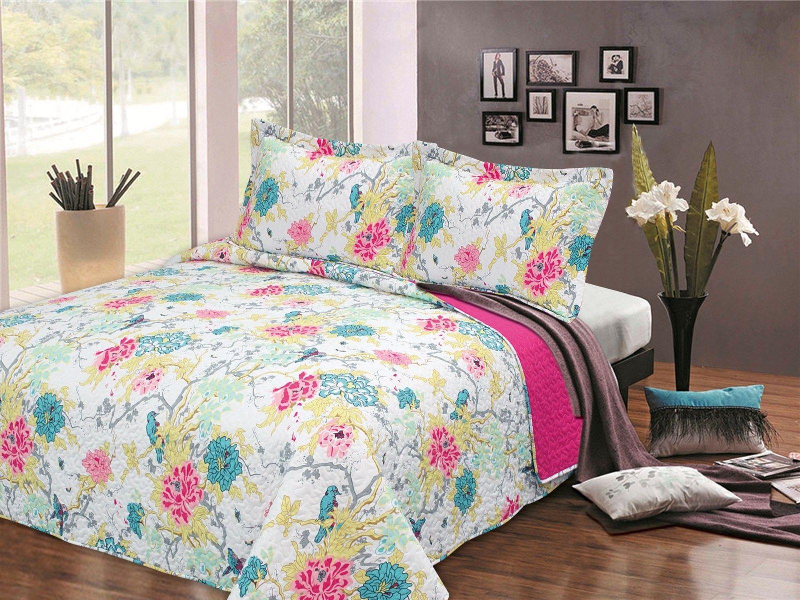 King Teal Flowers Bedspread