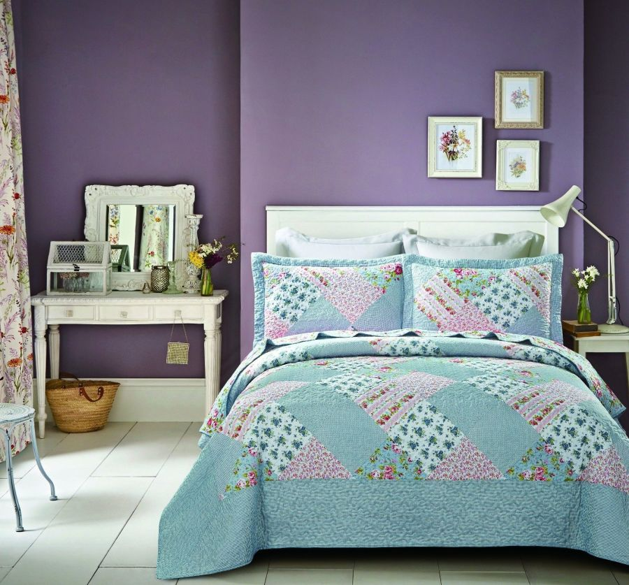 New Sky Pink Patch Bedspread