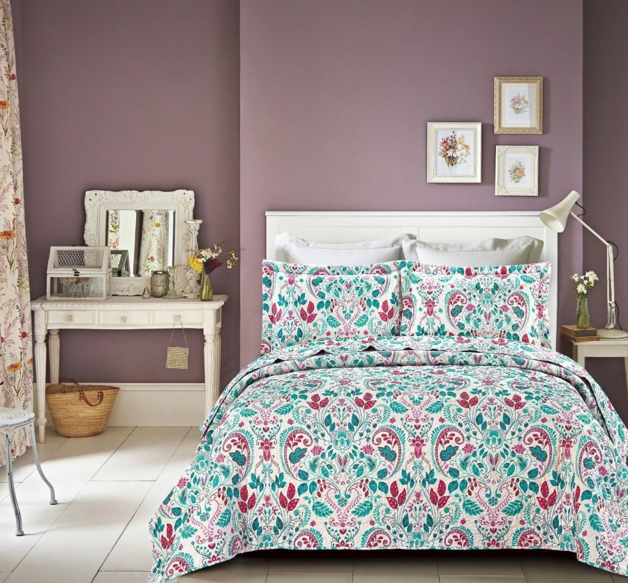 King Pink Teal Bedspread