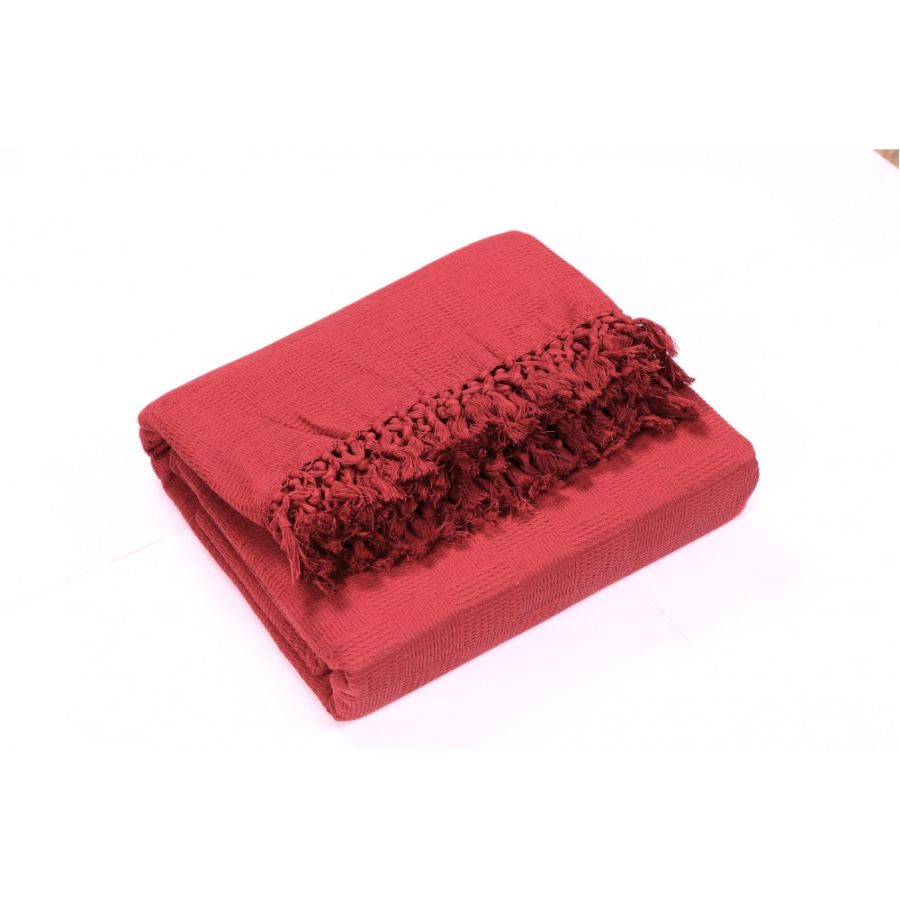 Ascot Cotton Sofa and Bed Throw  - Single (LARGE) Red