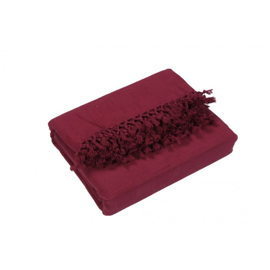 Ascot Cotton Sofa and Bed Throw - King Size (EXTRA JUMBO LARGE) Burgundy