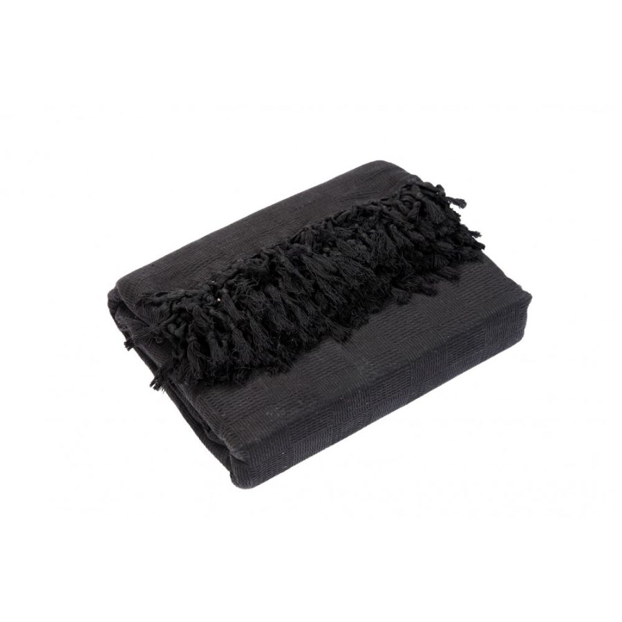 Ascot Cotton Sofa and Bed Throw - Super King (GIANT EXTRA JUMBO) Black
